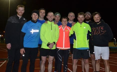 Pictured after another chilly training session at the Clickimin running track, from left to right: George Abernethy, personal trainer Russell Gair, Stuart Pearson, Grant Johnson, Karl Simpson, Fiona Shearer, Bryan Garrick, Lee Balfour, Marc Williamson, Ivor Johnson. Photo: Shetland News
