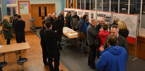 Tuesday afternoon's exhibition, ahead of a public meeting in the evening, was well attended by members of the public. Photo: Shetland News/Neil Riddell.