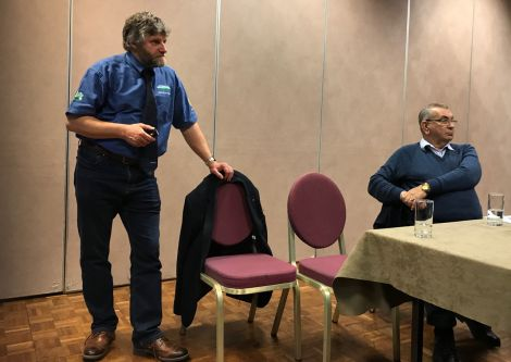 NFU vice president Martin Kennedy taking questions from isles crofters and farmers, as local NFU chairman Jim Nicolson looks on. Photo: Shetland News.