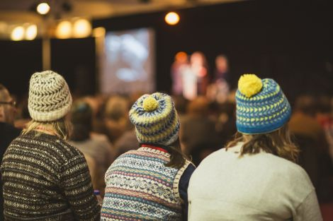 There were plenty of Bousta Beanies - this year's signature pattern - on show at the opening ceremony of this year's Shetland Wool Week. Photo: Calum Toogood