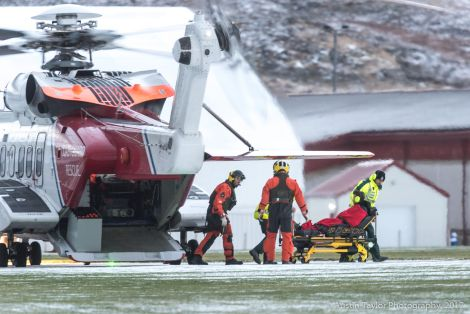 A man complaining of chest pains was airlifted to the Gilbert Bain Hospital on Saturday afternoon. Photo: Austin Taylor