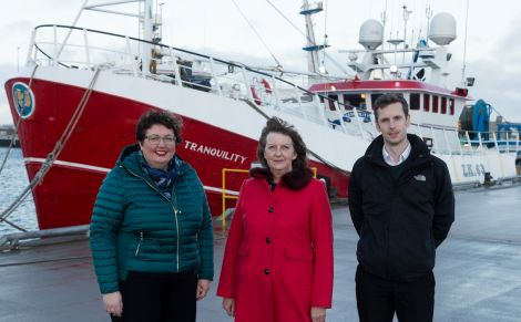 Lerwick Port Authority's chief executive Sandra Laurenson (centre) with Rachel Hunter and Andrew Gear at Mair's Pier. Photo: Ben Mullay for HIE