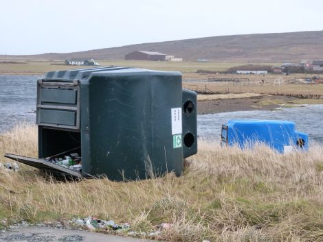 Steven Spence also spotted two bottle banks blown over in Baltasound.