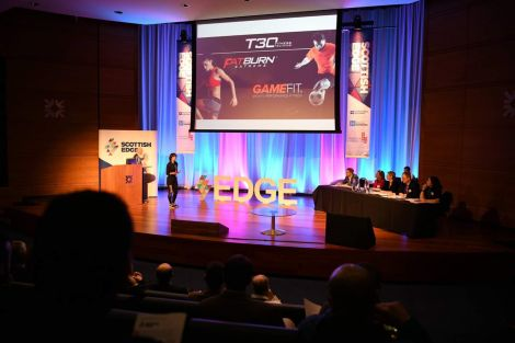Dianne giving her presentation at the Scottish Edge awards recently.