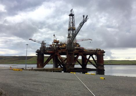 The oil drilling rig Buchan Alpha is the first larger oil installation to be decommissioned in Shetland. Photo: Shetland News