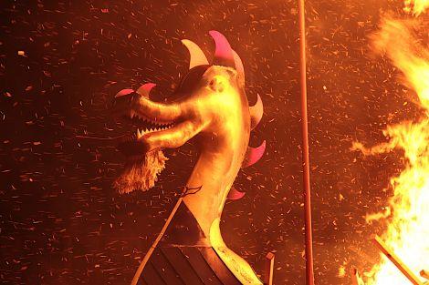 The galley ablaze - Photos and video: Hans J Marter/Shetland News