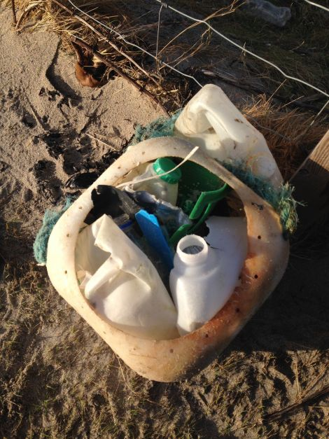 The spoils of the first #2minutebeachclean Rachel did almost four years ago.