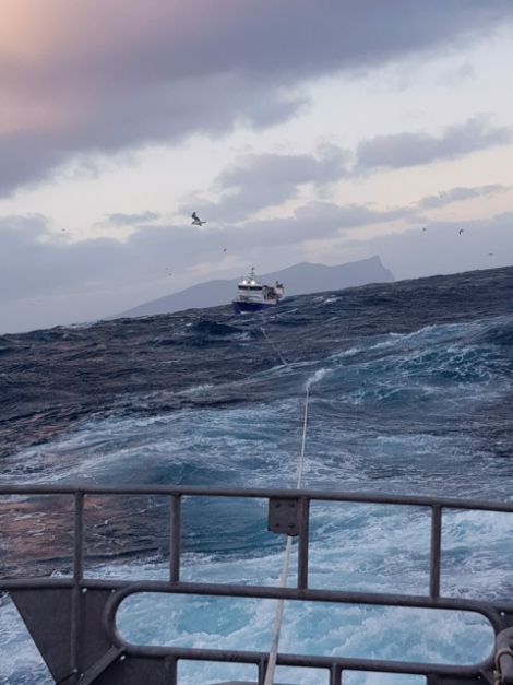 The Migdale being towed towards Aith. Photo: RNLI Aith
