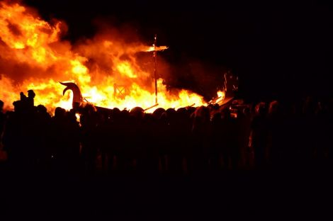 The Norwick galley Brennastyooch goes up in flames. Photo: Drew Berry