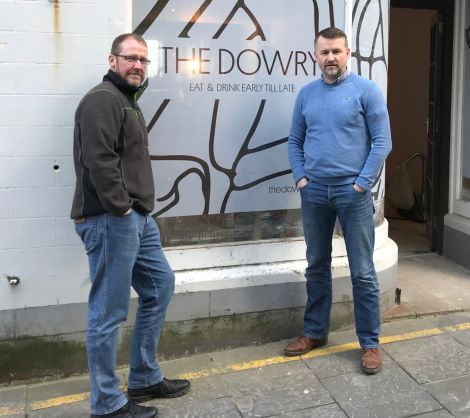 Erik Burgess and Stuart Fox outside their new cafe and shop The Dowry, which is set to open in the coming weeks. Photo: Shetland News