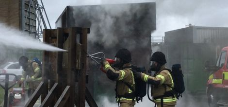The Coldcut blasting through a wall during a demonstration at Portlethen, Aberdeen, on Wednesday. Photo: SRFS