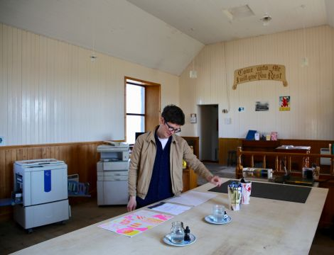 Daniel Clark at the GAADA studio space at the old Burra Isle Methodist Church.