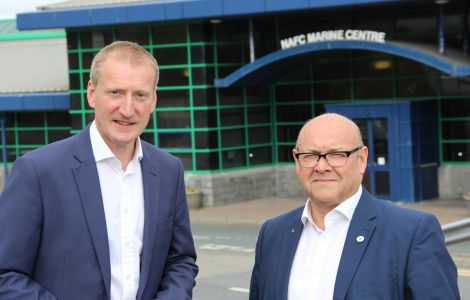Shetland MSP Tavish Scott (left) and James Dornan, the convener of the Scottish parliament's education and skills committee at the NAFC Marine Centre on Monday afternoon. Photo: Hans J Marter/Shetland News