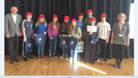 The winning pupils from Mid Yell Junior School receive their prizes from Thomas Chaurin, education attaché of the French embassy in the UK, and Jenny Wink, Shetland Gas Plant facilities management co-ordinator.