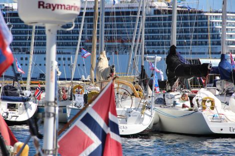 Lerwick harbour was busy on Friday with yachts participating in the Shetland Race as well as the 293 metre cruise liner Costa Mediterranea visiting. Photo: Hans J Marter/Shetland News