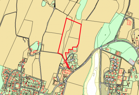 The boundaries of where the proposed housing development could be located.