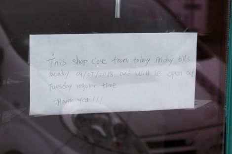 The sign on the door of the Hai Yang on Monday.