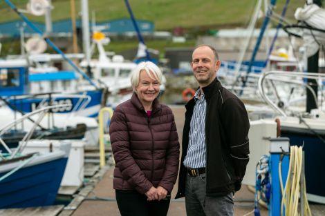 SSMO inshore coordinator Carole Laignel with Total E&P UK's Simon Hare pictured in Lerwick.