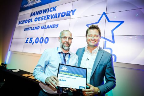 Sandwick Junior High School headmaster Stuart Clubb (left) with architect George Clarke (right) after winning a prize in the Jewson Building Better Communities competition.