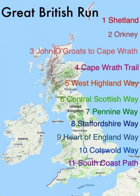 Faith Addison's 1,500-mile long route from Shetland to Land's End.