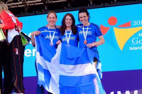 Could Shetland play host in the future to Islands Games medal wins like this, from the 2017 event in Gotland? Pictured was the bronze medal-winning triathlon trio Lynsey Henderson, Shelley Humphray and Wendy Hatrick. Photo: Shetland Island Games Association