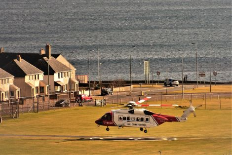 The coastguard helicopter landing at the emergency Clickimin landing site earlier this year. Photo: Margaret Clark