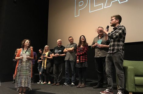 Some of Shetland's amateur film makers introducing their films ahead of the Home Made screening on Friday evening. Photo: Shetland News