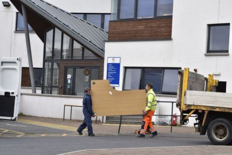 Council staff moving out of the council headquarters exactly two years ago. Photo: Andrew Gibson/Millgaet Media