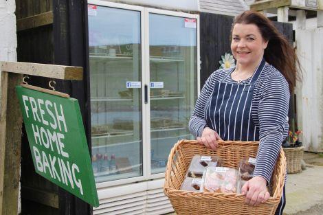 Lynn Johnson at her cake fridge last year. Photo: Hans J Marter/Shetland News